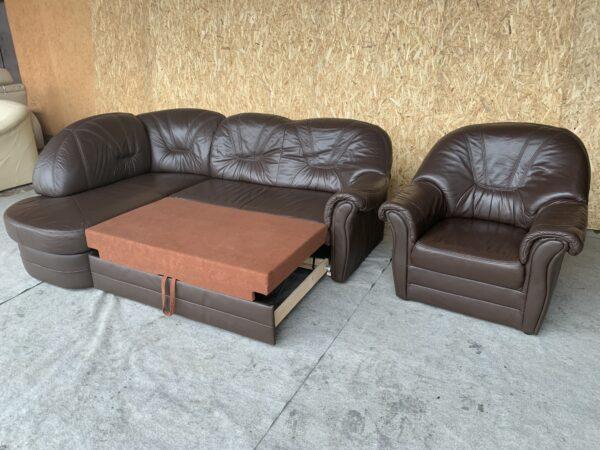Кожаный уголок (раскл)+кресло!