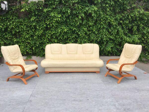 Кожаный гарнитур ( раскладной, кресла качалки)